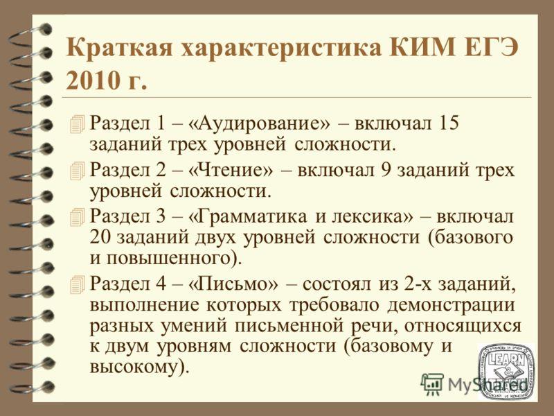 Краткая характеристика КИМ ЕГЭ 2010 г. 4 Работа по иностранному языку состояла из 28 заданий с выбором одного ответа (из 3-х или 4-х предложенных вариантов), 16 заданий (в том числе заданий на установление соответствия), требующих краткого ответа, и