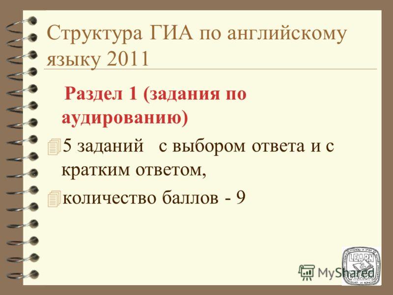 Структура ГИА по английскому языку 2011 В работу по иностранному языку включены: 4 8 заданий с выбором ответа из 3-х предложенных; 4 14 заданий с кратким ответом, в том числе задания в том числе задания на установление соответствия; 4 3 задания с раз
