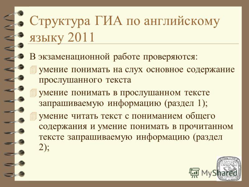 Структура ГИА по английскому языку 2011 Раздел 5 (задания по говорению) 4 2 задания с развернутым ответом 4 количество баллов - 12