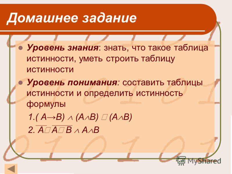 Домашнее задание Уровень знания: знать, что такое таблица истинности, уметь строить таблицу истинности Уровень понимания: составить таблицы истинности и определить истинность формулы 1.( АВ) (А В) (А В) 2. А А B А В