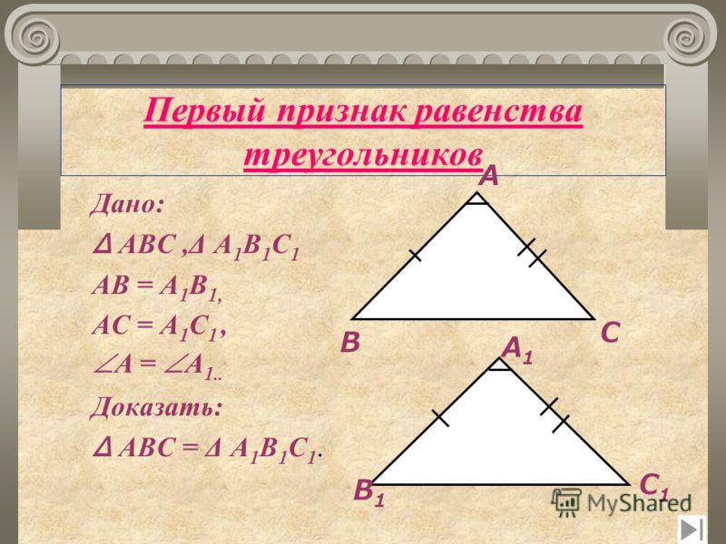 Первый признак равенства треугольников ТЕОРЕМА Если две стороны и угол между ними одного треугольника соответственно равны двум сторонам и углу между ними другого треугольника, то такие треугольники равны.