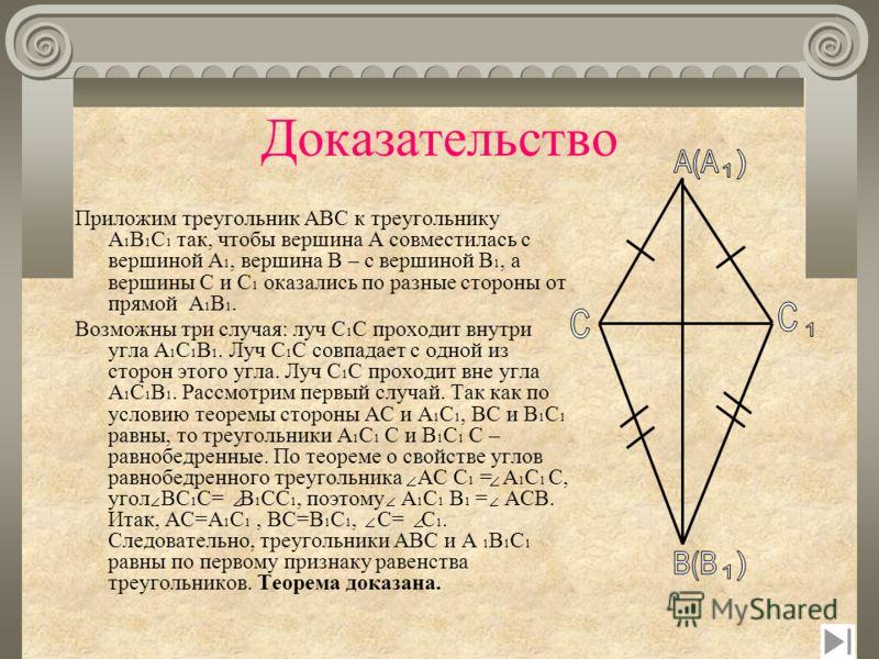 Третий признак равенства треугольников Дано: Δ АВС,Δ А 1 В 1 С 1 АС = А 1 С 1 АВ = А 1 В 1 ВС = В 1 С 1 Доказать: Δ АВС = Δ А 1 В 1 С 1 А В С А1 А1 В1 В1 С1С1