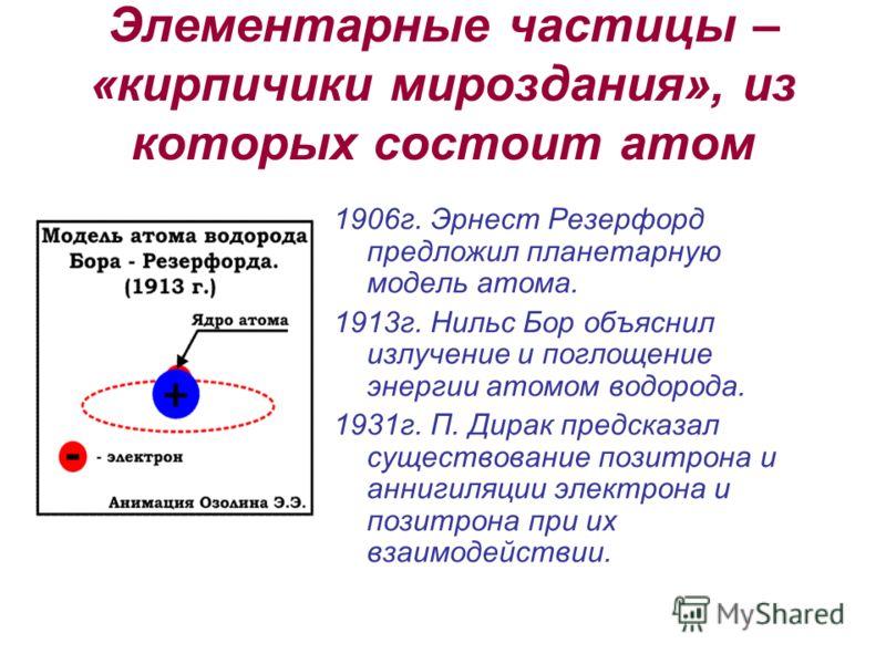 Элементарные частицы – «кирпичики мироздания», из которых состоит атом 1906г. Эрнест Резерфорд предложил планетарную модель атома. 1913г. Нильс Бор объяснил излучение и поглощение энергии атомом водорода. 1931г. П. Дирак предсказал существование пози