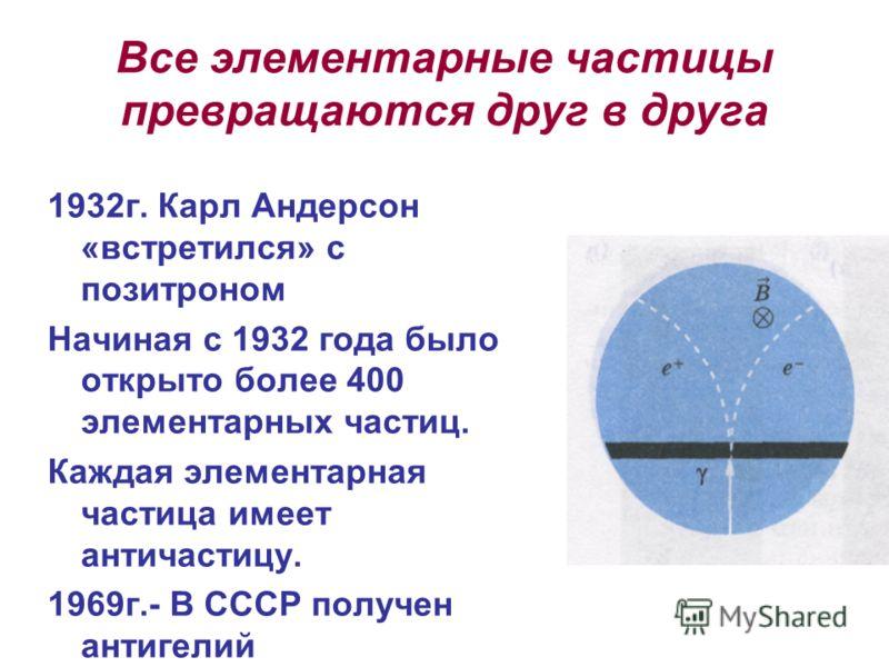 Все элементарные частицы превращаются друг в друга 1932г. Карл Андерсон «встретился» с позитроном Начиная с 1932 года было открыто более 400 элементарных частиц. Каждая элементарная частица имеет античастицу. 1969г.- В СССР получен антигелий