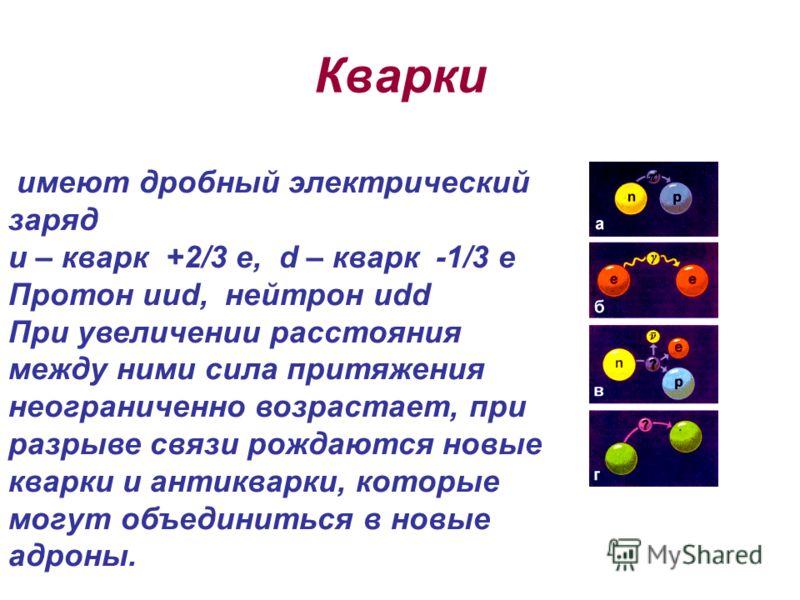 Кварки имеют дробный электрический заряд u – кварк +2/3 е, d – кварк -1/3 е Протон uud, нейтрон udd При увеличении расстояния между ними сила притяжения неограниченно возрастает, при разрыве связи рождаются новые кварки и антикварки, которые могут об