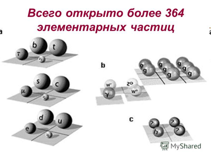 Всего открыто более 364 элементарных частиц