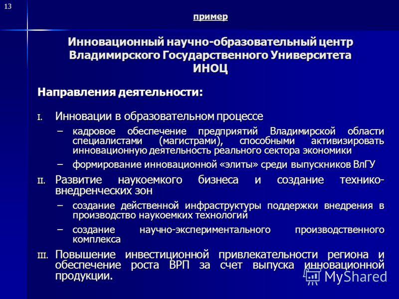 13 пример Инновационный научно-образовательный центр Владимирского Государственного Университета ИНОЦ Направления деятельности: I. Инновации в образовательном процессе –кадровое обеспечение предприятий Владимирской области специалистами (магистрами),