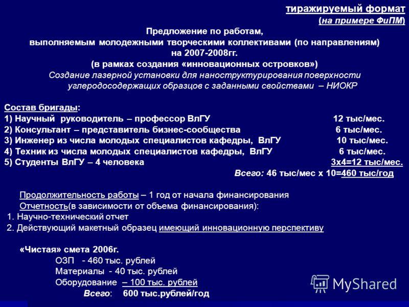 18 тиражируемый формат (на примере ФиПМ) Предложение по работам, выполняемым молодежными творческими коллективами (по направлениям) на 2007-2008гг. (в рамках создания «инновационных островков») Создание лазерной установки для наноструктурирования пов