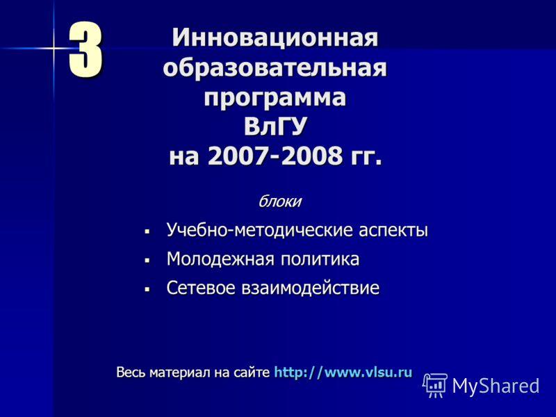 Инновационная образовательная программа ВлГУ на 2007-2008 гг. Учебно-методические аспекты Учебно-методические аспекты Молодежная политика Молодежная политика Сетевое взаимодействие Сетевое взаимодействие 3 Весь материал на сайте http://www.vlsu.ru бл