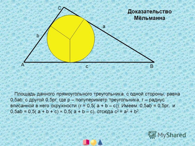 А В С а с b Доказательство Мёльманна Площадь данного прямоугольного треугольника, с одной стороны, равна 0,5аb, с другой 0,5рr, где р – полупериметр треугольника, r – радиус вписанной в него окружности (r = 0,5( а + b – с)). Имеем: 0,5аb = 0,5рr, и 0