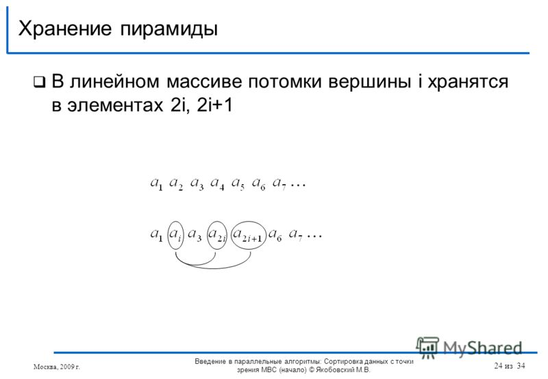 В линейном массиве потомки вершины i хранятся в элементах 2i, 2i+1 Хранение пирамиды Москва, 2009 г. Введение в параллельные алгоритмы: Сортировка данных с точки зрения МВС (начало) © Якобовский М.В. 24 из 34