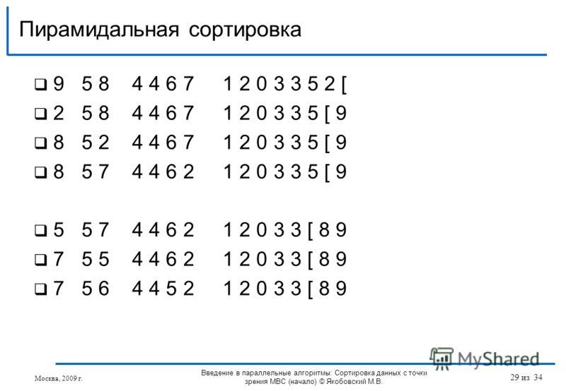 9 5 8 4 4 6 7 1 2 0 3 3 5 2 [ 2 5 8 4 4 6 7 1 2 0 3 3 5 [ 9 8 5 2 4 4 6 7 1 2 0 3 3 5 [ 9 8 5 7 4 4 6 2 1 2 0 3 3 5 [ 9 5 5 7 4 4 6 2 1 2 0 3 3 [ 8 9 7 5 5 4 4 6 2 1 2 0 3 3 [ 8 9 7 5 6 4 4 5 2 1 2 0 3 3 [ 8 9 Пирамидальная сортировка Москва, 2009 г.