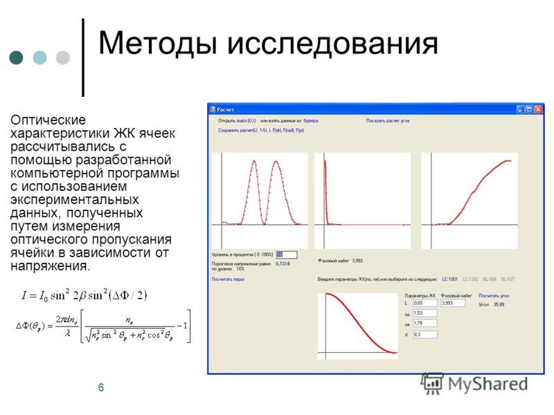 6 Методы исследования Оптические характеристики ЖК ячеек рассчитывались с помощью разработанной компьютерной программы с использованием экспериментальных данных, полученных путем измерения оптического пропускания ячейки в зависимости от напряжения.
