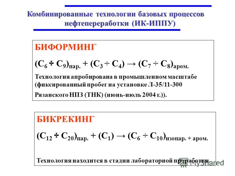 Комбинированные технологии базовых процессов нефтепереработки (ИК-ИППУ) БИФОРМИНГ (С 6 ÷ С 9 ) пар. + (С 3 ÷ С 4 ) (С 7 ÷ С 8 ) аром. Технология апробирована в промышленном масштабе (фиксированный пробег на установке Л-35/11-300 Рязанского НПЗ (ТНК)