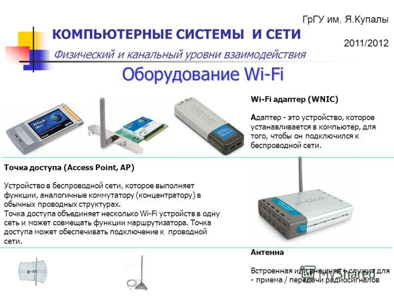 ГрГУ им. Я.Купалы 2011/2012 Физический и канальный уровни взаимодействия КОМПЬЮТЕРНЫЕ СИСТЕМЫ И СЕТИ Оборудование Wi-Fi Точка доступа (Access Point, AP) Устройство в беспроводной сети, которое выполняет функции, аналогичные коммутатору (концентратору