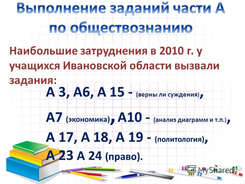 Наибольшие затруднения в 2010 г. у учащихся Ивановской области вызвали задания: А 3, А6, А 15 - (верны ли суждения ), А7 (экономика), А10 - (анализ диаграмм и т.п. ), А 17, А 18, А 19 - (политология), А 23 А 24 (право).