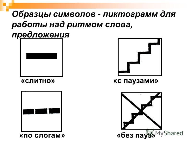 Образцы символов - пиктограмм для работы над ритмом слова, предложения «слитно» «с паузами» «по слогам» «без пауз»