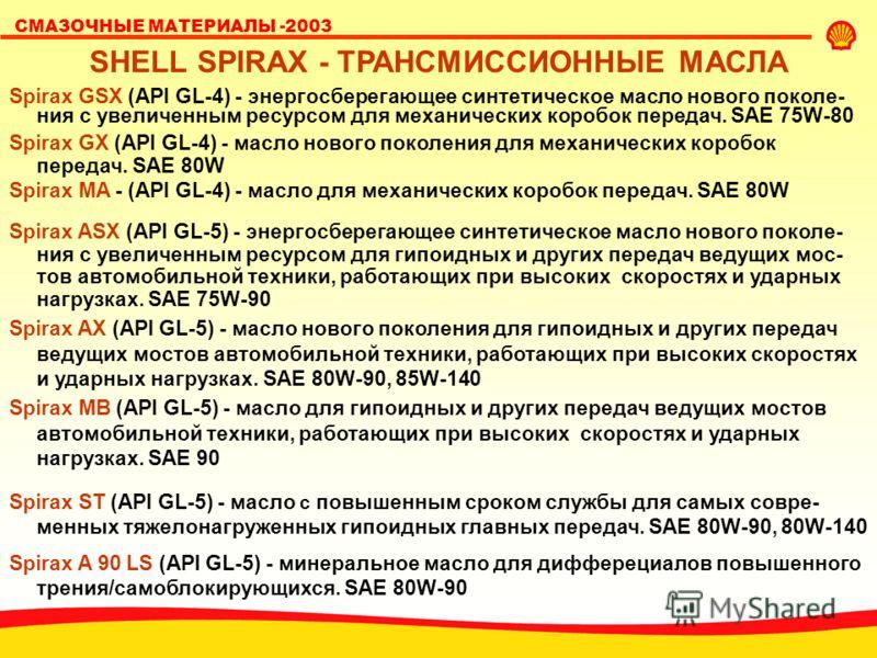 SHELL LUBRICANTS СМАЗОЧНЫЕ МАТЕРИАЛЫ -2003 SHELL SPIRAX - ТРАНСМИССИОННЫЕ МАСЛА Spirax GSX (API GL-4) - энергосберегающее синтетическое масло нового поколе- ния с увеличенным ресурсом для механических коробок передач. SAE 75W-80 Spirax GX (API GL-4)