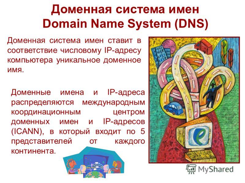 Доменная система имен Domain Name System (DNS) Доменная система имен ставит в соответствие числовому IP-адресу компьютера уникальное доменное имя. Доменные имена и IP-адреса распределяются международным координационным центром доменных имен и IP-адре