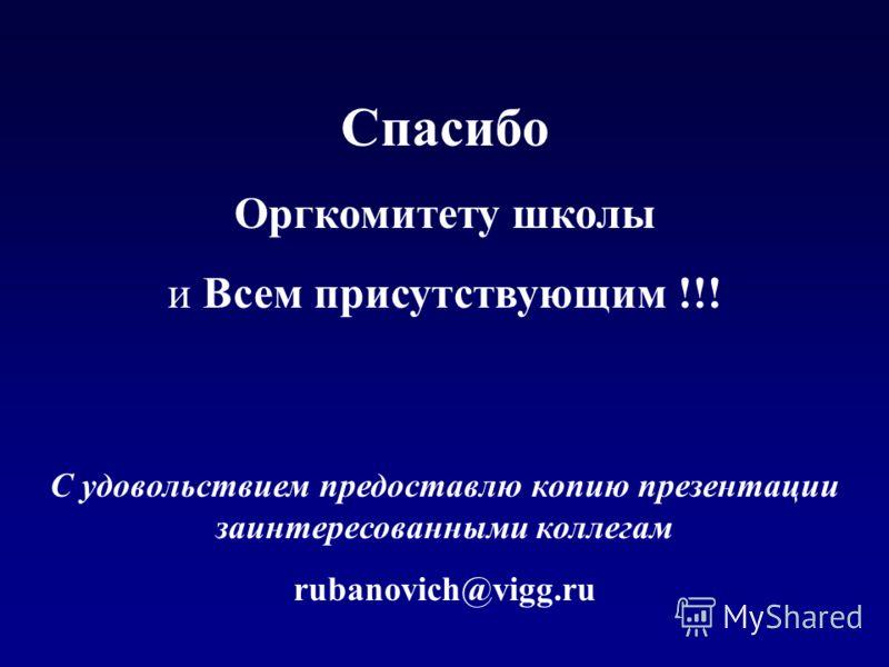 Спасибо Оргкомитету школы и Всем присутствующим !!! С удовольствием предоставлю копию презентации заинтересованными коллегам rubanovich@vigg.ru