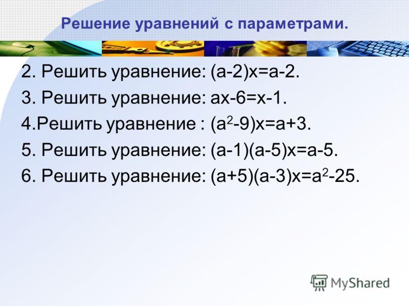 Решение уравнений с параметрами. 2. Решить уравнение: (a-2)x=a-2. 3. Решить уравнение: ax-6=x-1. 4.Решить уравнение : (a 2 -9)x=a+3. 5. Решить уравнение: (a-1)(a-5)x=a-5. 6. Решить уравнение: (a+5)(a-3)x=a 2 -25.