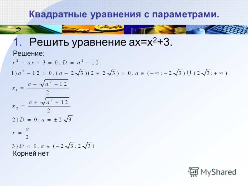 Квадратные уравнения с параметрами. 1.Решить уравнение ax=x 2 +3. Решение: Корней нет