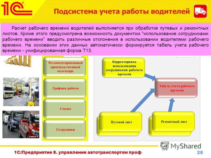 28 www.1c-menu.ru, Октябрь 2010 г. 1С:Предприятие 8. управление автотранспортом проф Подсистема учета работы водителей В данной подсистеме реализуются две основные задачи: учет выработки и рабочего времени водителей и начисление заработной платы по п
