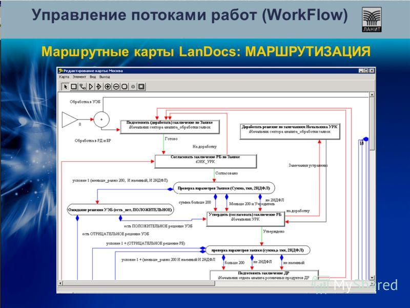 Управление потоками работ (WorkFlow) Маршрутные карты LanDocs: МАРШРУТИЗАЦИЯ