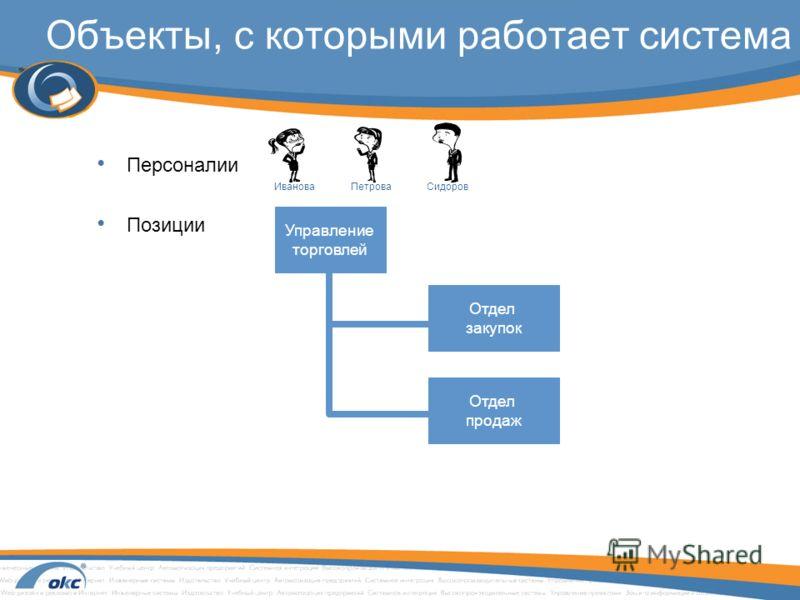 Объекты, с которыми работает система Персоналии Позиции Управление торговлей Отдел закупок Отдел продаж ИвановаПетроваСидоров