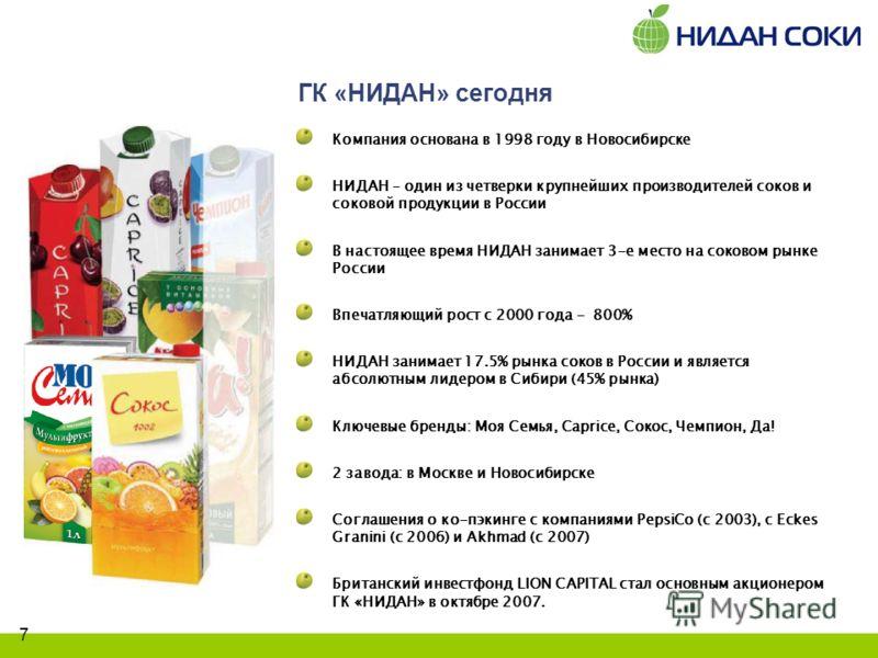 7 ГК «НИДАН» сегодня Компания основана в 1998 году в Новосибирске НИДАН – один из четверки крупнейших производителей соков и соковой продукции в России В настоящее время НИДАН занимает 3-е место на соковом рынке России Впечатляющий рост с 2000 года -