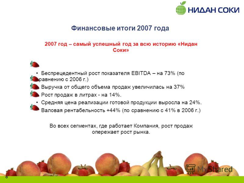 8 Финансовые итоги 2007 года 2007 год – самый успешный год за всю историю «Нидан Соки» Беспрецедентный рост показателя EBITDA – на 73% (по сравнению с 2006 г.) Выручка от общего объема продаж увеличилась на 37% Рост продаж в литрах - на 14%. Средняя