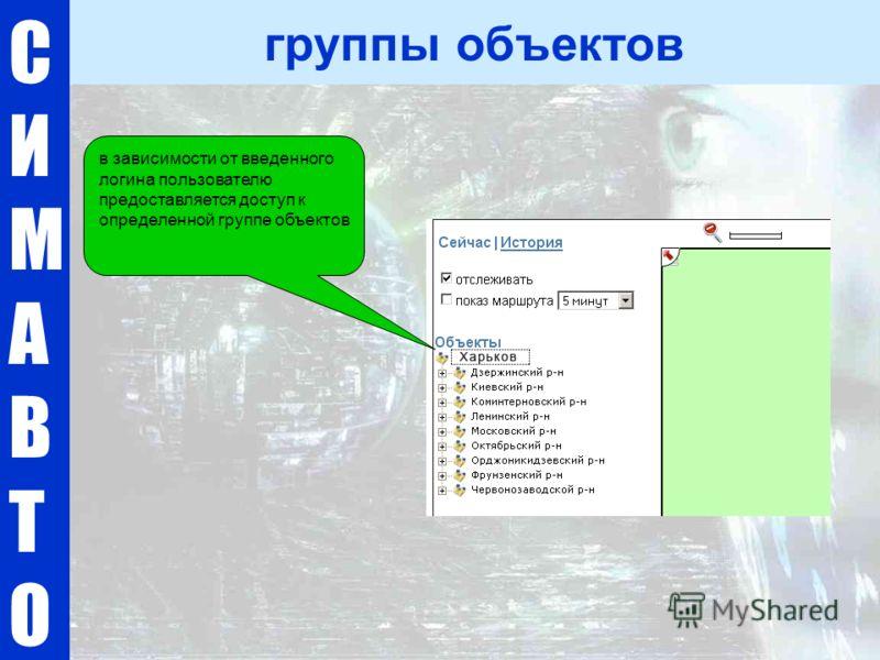 СИМАВТОСИМАВТО группы объектов в зависимости от введенного логина пользователю предоставляется доступ к определенной группе объектов