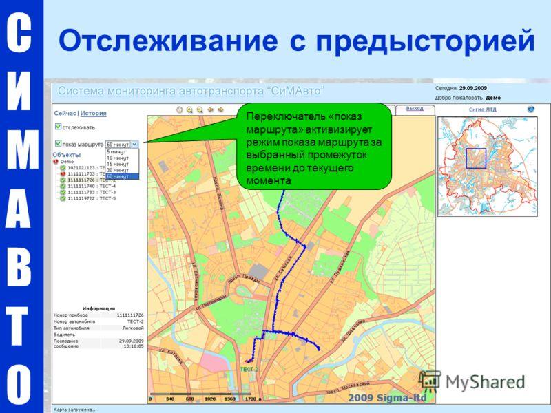 СИМАВТОСИМАВТО Отслеживание с предысторией Переключатель «показ маршрута» активизирует режим показа маршрута за выбранный промежуток времени до текущего момента