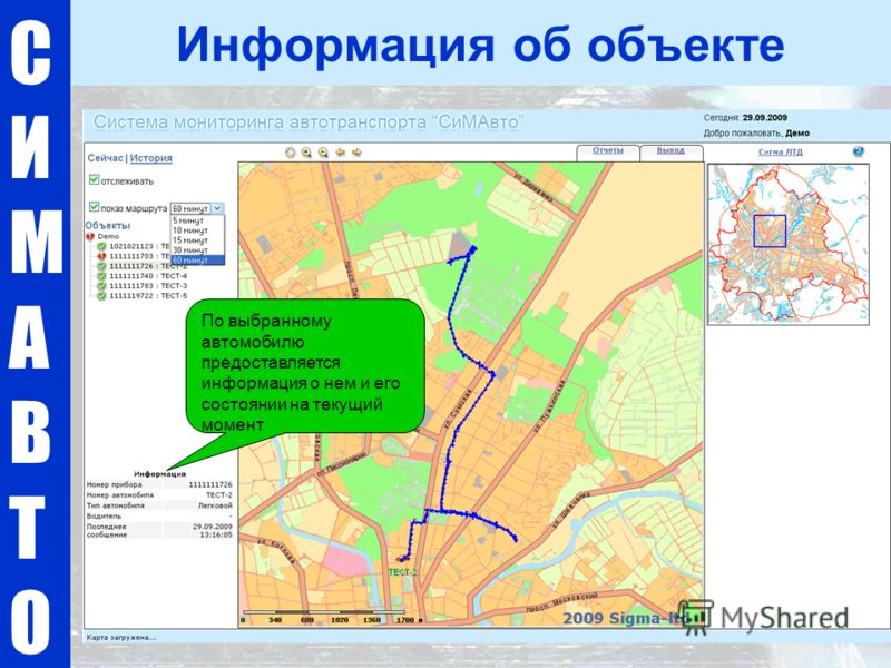 СИМАВТОСИМАВТО Информация об объекте По выбранному автомобилю предоставляется информация о нем и его состоянии на текущий момент