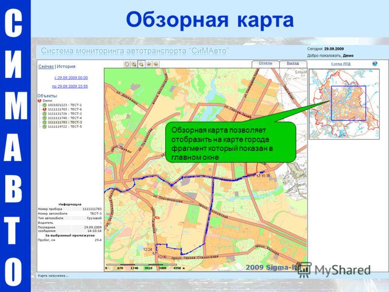 СИМАВТОСИМАВТО Обзорная карта Обзорная карта позволяет отобразить на карте города фрагмент который показан в главном окне