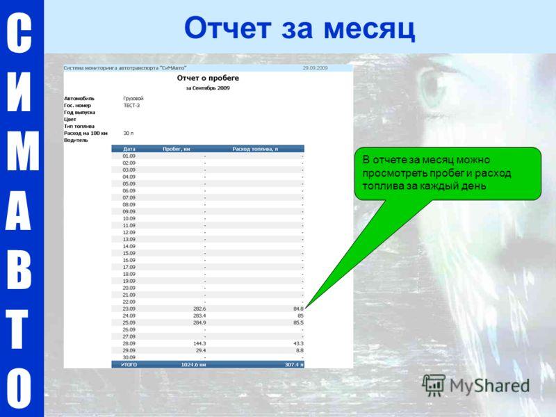 СИМАВТОСИМАВТО Отчет за месяц В отчете за месяц можно просмотреть пробег и расход топлива за каждый день