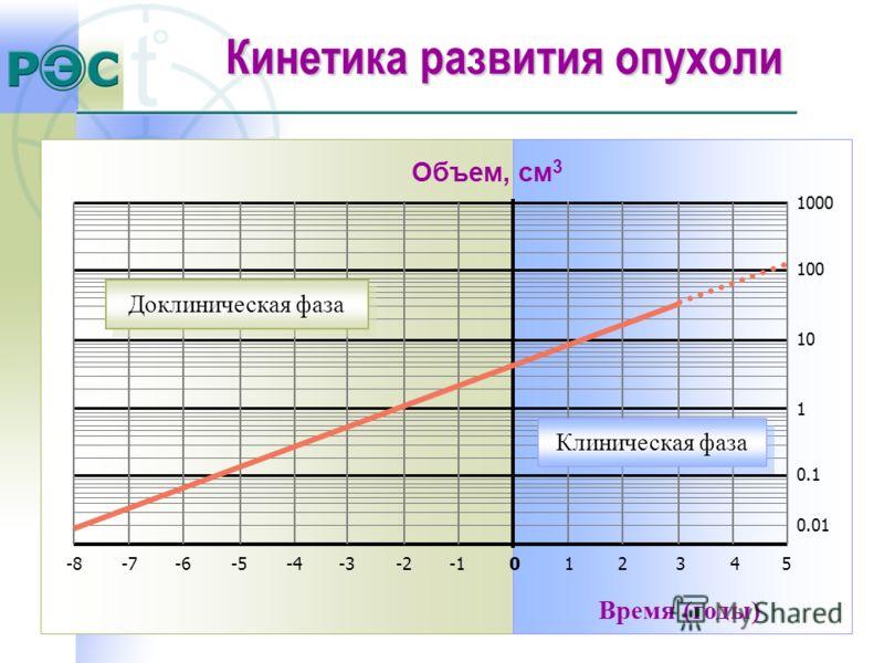 Время (годы) Объем, cм 3 Клиническая фаза Доклиническая фаза 1000 100 10 1 0.1 0.01 12345-8-7-6-5-4-3-20 Кинетика развития опухоли
