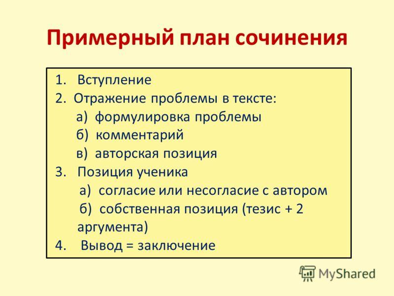Примерный план сочинения 1. Вступление 2. Отражение проблемы в тексте: а) формулировка проблемы б) комментарий в) авторская позиция 3. Позиция ученика а) согласие или несогласие с автором б) собственная позиция (тезис + 2 аргумента) 4. Вывод = заключ