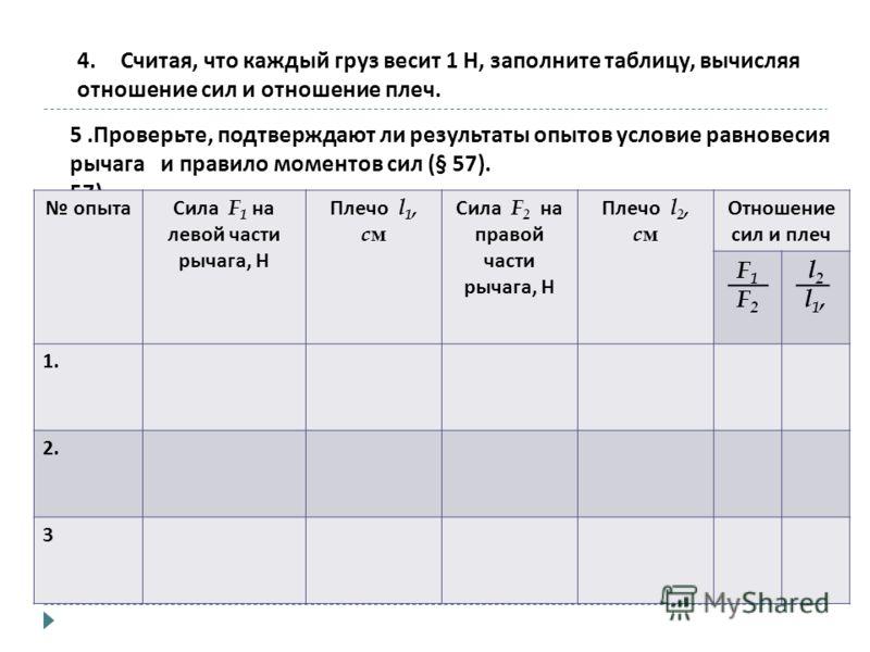 4.Считая, что каждый груз весит 1 Н, заполните таблицу, вычисляя отношение сил и отношение плеч. 5. Проверьте, подтверждают ли результаты опытов условие равновесия рычага и правило моментов сил (§ 57). 57). опытаСила F 1 на левой части рычага, Н Плеч