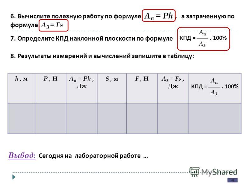 6. Вычислите полезную работу по формуле A п = Ph, а затраченную по формуле A 3 = Fs 7. Определите КПД наклонной плоскости по формуле КПД =. 100% AпAп A3A3 8. Результаты измерений и вычислений запишите в таблицу : h, м P, Н A п = Ph, Дж S, м F, Н A 3