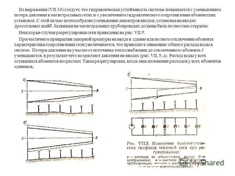 Из выражения (VII.19) следует, что гидравлическая устойчивость системы повышается с уменьшением потерь давления в магистральных сетях и с увеличением гидравлического сопротивления абонентских установок. С этой целью целесообразно уменьшение диаметров