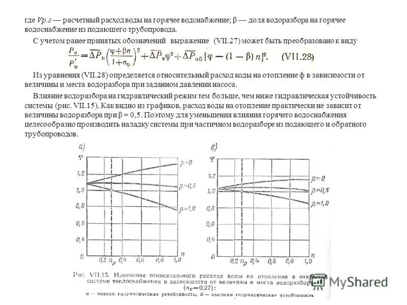 где Vp.г расчетный расход воды на горячее водснабжение; β доля водоразбора на горячее водоснабжение из подающего трубопровода. С учетом ранее принятых обозначений выражение (VII.27) может быть преобразовано к виду Из уравнения (VII.28) определяется о