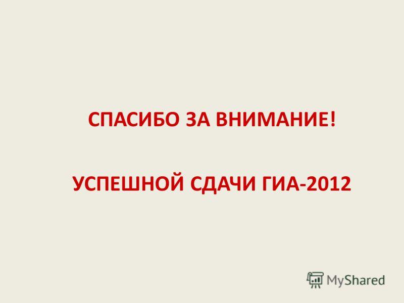 СПАСИБО ЗА ВНИМАНИЕ! УСПЕШНОЙ СДАЧИ ГИА-2012