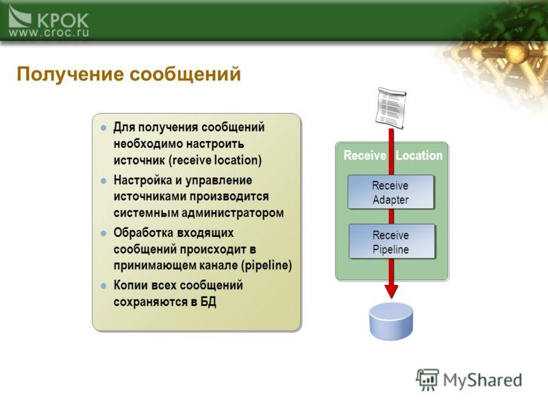 Получение сообщений Receive Location XML or Flat file Message Database Для получения сообщений необходимо настроить источник (receive location) Настройка и управление источниками производится системным администратором Обработка входящих сообщений про