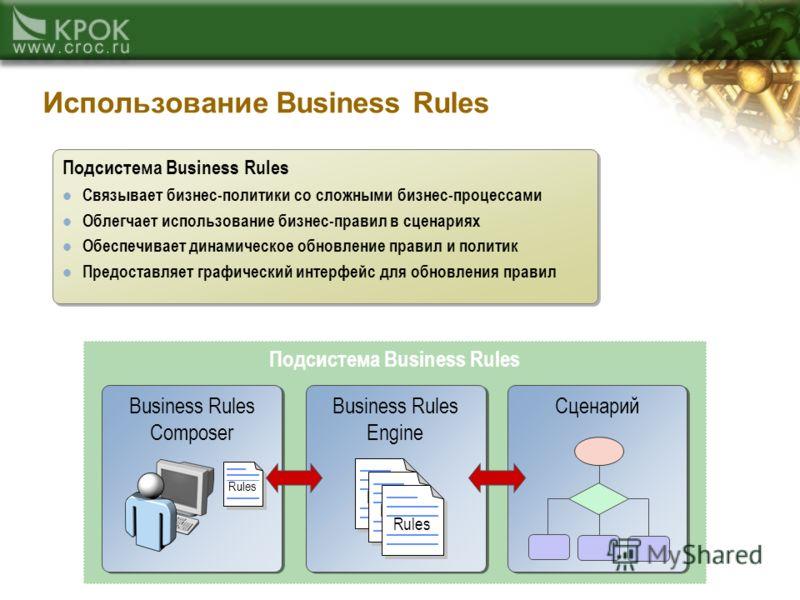 Подсистема Business Rules Использование Business Rules Сценарий Business Rules Engine Rules Business Rules Composer Подсистема Business Rules Связывает бизнес-политики со сложными бизнес-процессами Облегчает использование бизнес-правил в сценариях Об