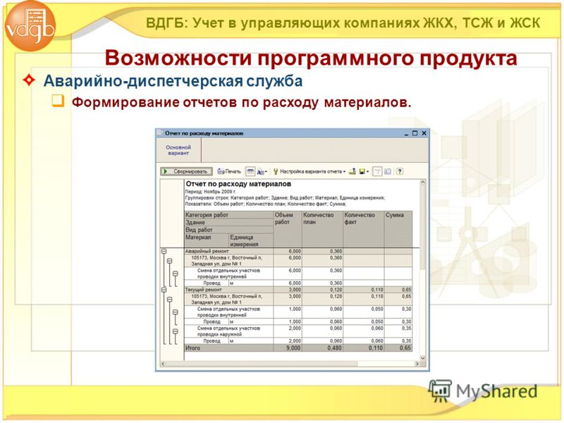 ВДГБ: Учет в управляющих компаниях ЖКХ, ТСЖ и ЖСК Возможности программного продукта Аварийно-диспетчерская служба Формирование отчетов по расходу материалов.