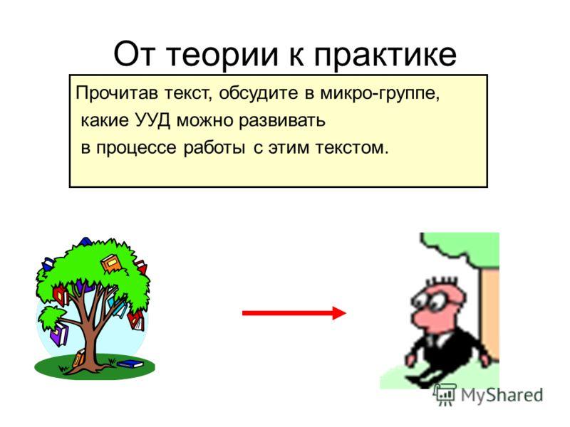 От теории к практике Прочитав текст, обсудите в микро-группе, какие УУД можно развивать в процессе работы с этим текстом.