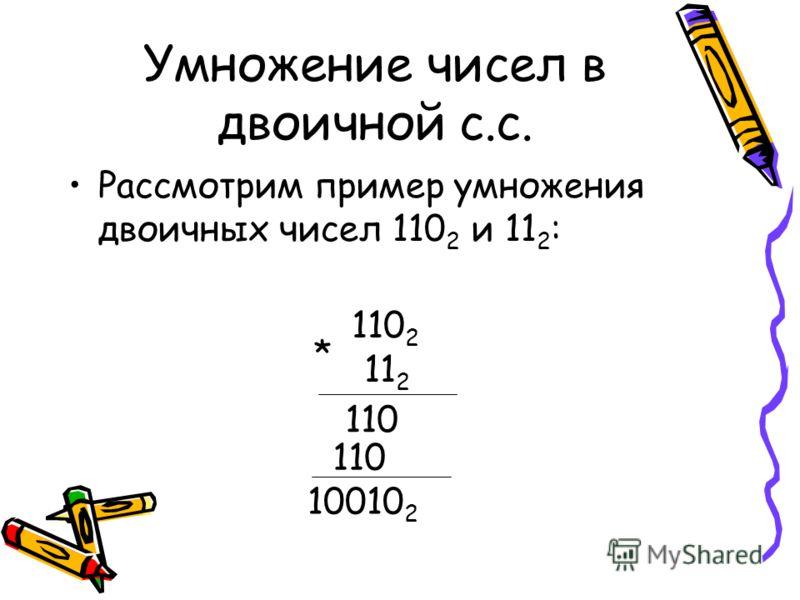 Умножение чисел в двоичной с.с. Рассмотрим пример умножения двоичных чисел 110 2 и 11 2 : 110 2 11 2 * 110 110 10010 2
