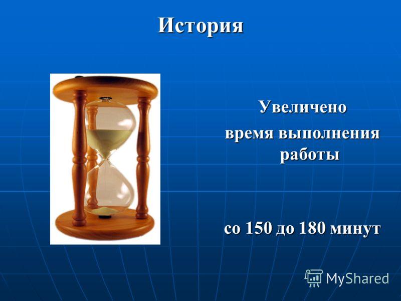 История Увеличено время выполнения работы со 150 до 180 минут