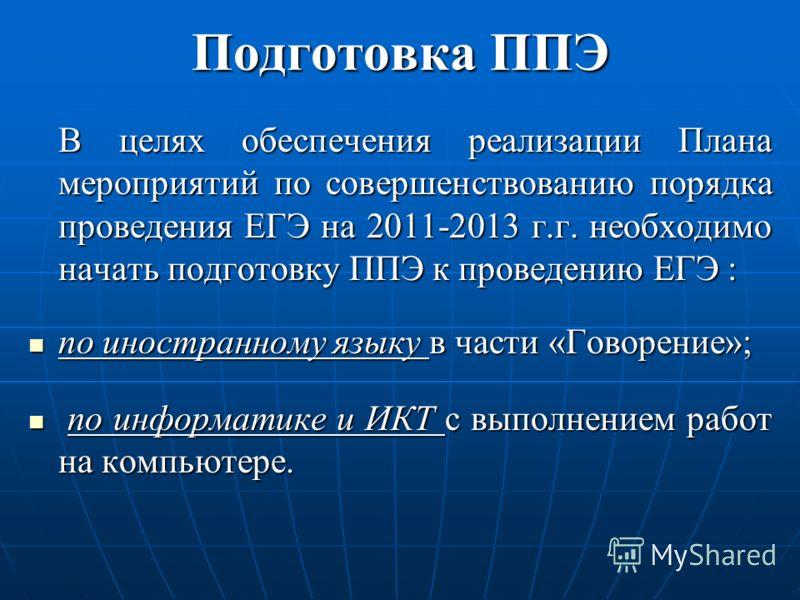 Подготовка ППЭ В целях обеспечения реализации Плана мероприятий по совершенствованию порядка проведения ЕГЭ на 2011-2013 г.г. необходимо начать подготовку ППЭ к проведению ЕГЭ : по иностранному языку в части «Говорение»; по иностранному языку в части
